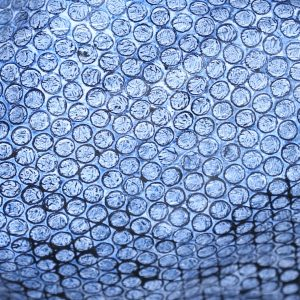 Blue Royalty upcycled bubble wrap, eco friendly fabric created and colored by hand